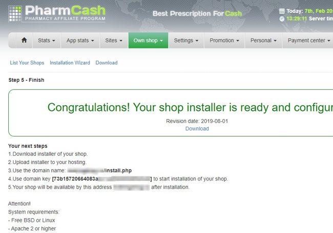 Окно с сообщением об удачной установке онлайн-аптеки