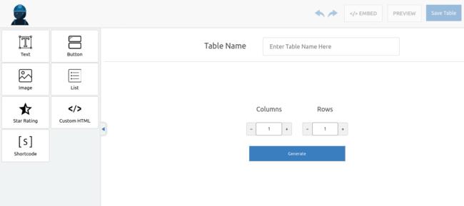 Конструктор создания таблиц