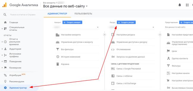 Добавление нового сайта в Гугл Аналитика