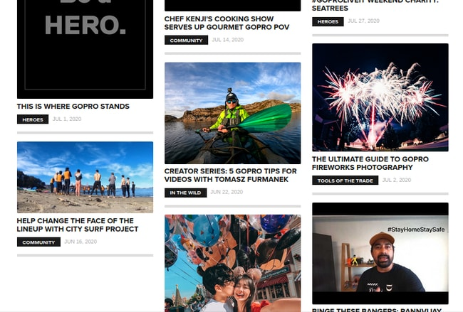 Информационные статьи на сайте GoPro