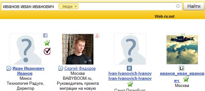 Яндекс - иван иванович иванов