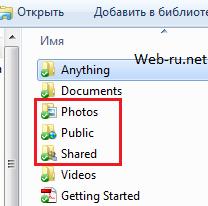 Dropbox - типы папок в программе