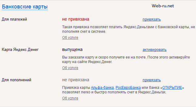Яндекс.Деньги - банковские карты