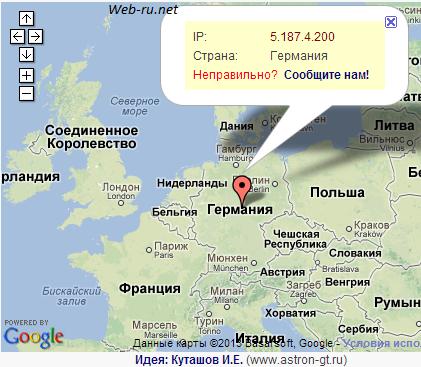 местоположение сервиса по IP