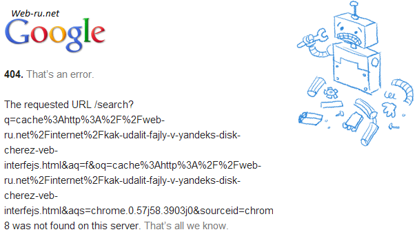 страницы нет в кэше Google