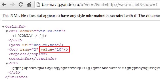 ТИЦ в XML