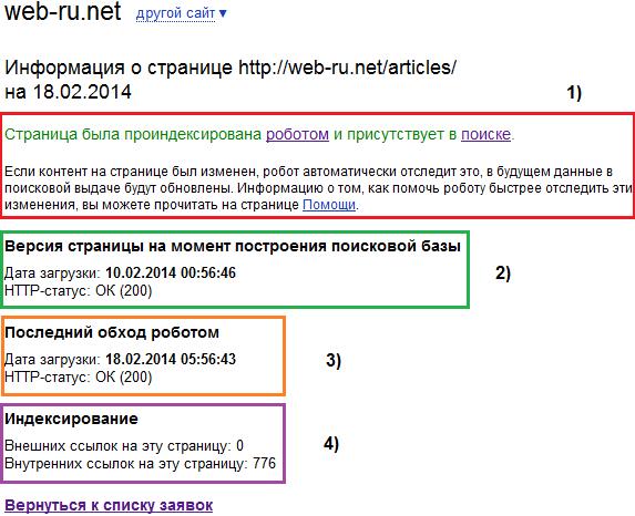 """""""Проверить URL""""  - результат"""