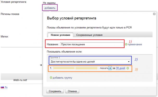 Яндекс.Директ - условия ретаргетинга