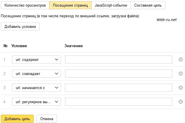 Яндекс Метрика - цель посещение страниц