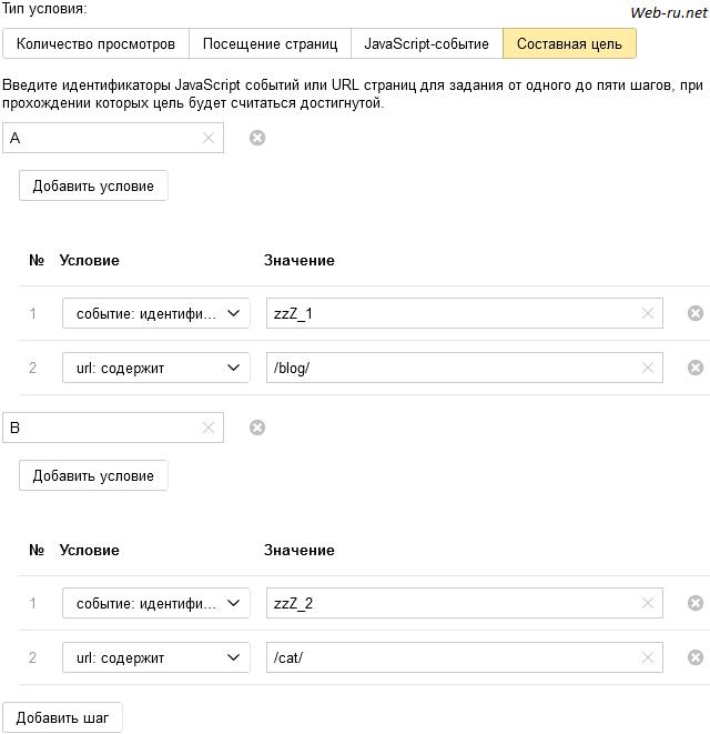Яндекс Метрика - составная цель