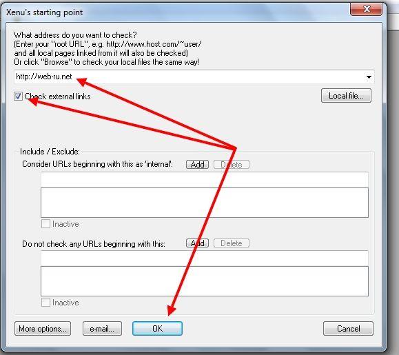 Ввод сайта в программу Xenu для поиска неисправных ссылок