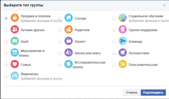 Типы групп в Фейсбук